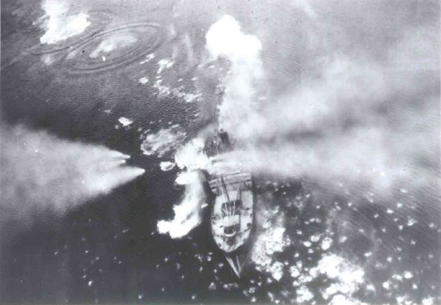 Rotenfels under attack, Dalsfjord. Crash site of Robbie Reid's Mosquito.