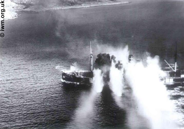 Merchant vessel Lynx explodes.
